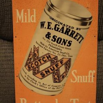 Rare Antique W.E. Garrett & Sons Snuff Sign - Signs