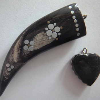 Two Horn/Bone Pique Pendants