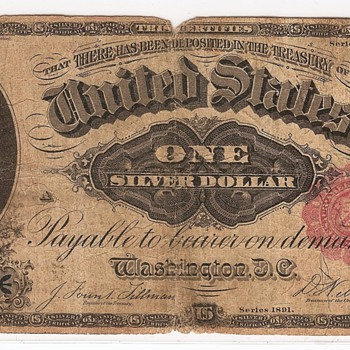 1891 Silver Certificate - US Paper Money