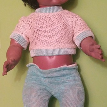 "16"" Tall African American Black Softina Drink Wet Doll Eegee"