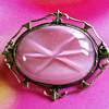 Pink Glass Bohemian brooch