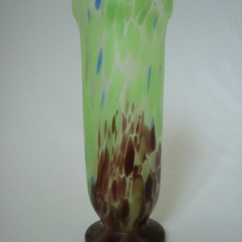 Czech Art Deco Satin Glass Vase - Art Glass