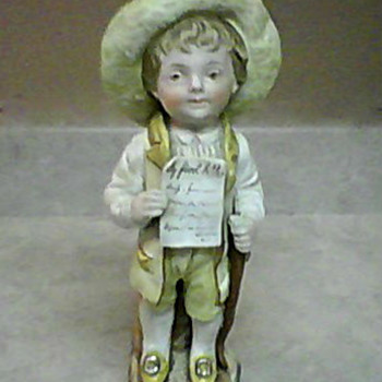 MY FIRST LETTER 4702  BISQUE PORCELAIN FIGURINE - Art Pottery