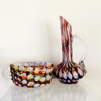 Welz Rainbow Honeycomb Cup? & Ewer Vase