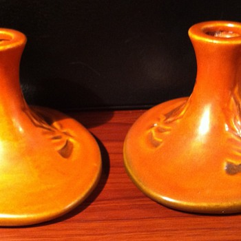 Roseville Silhouette Candlesticks - Art Pottery