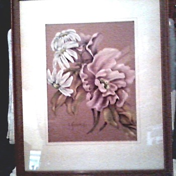 Beautiful Pair of Original Floral Drawings / Pastels on Buff Colored Art Paper / Signed L. Kennedy / Circa late 1930's-40's
