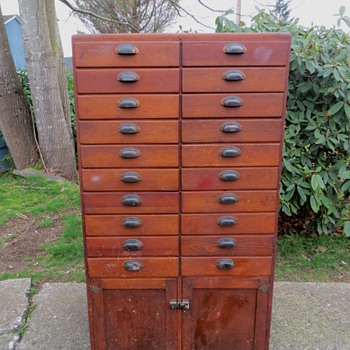 Antique 20 Drawer Wood Apothecary Cabinet!! - Furniture