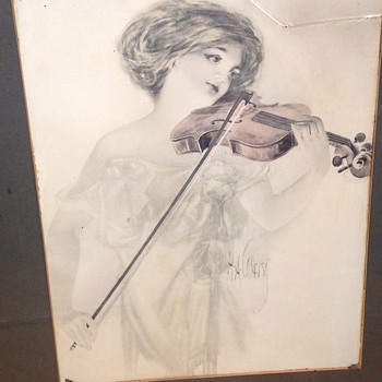 Lady playing violin - Visual Art