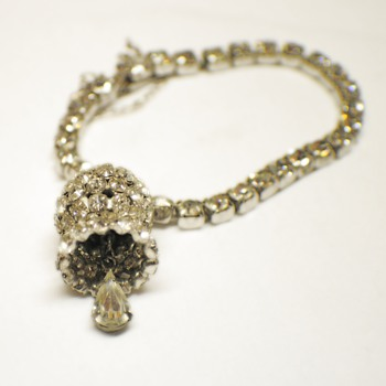 Vintage Rhinestone bracelet with Bell charm made of Rhinestones