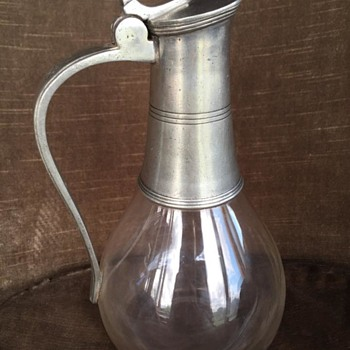 Silver and glass pitcher - Glassware