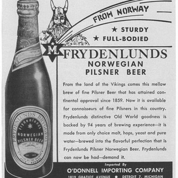 1953/54  Frydenlunds Pilsner Beer Advertisement - Advertising