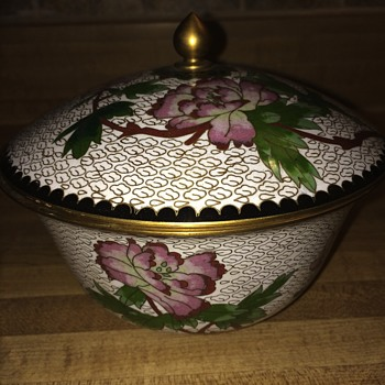 Metal/brass? Ornate bowl w/stamp - Asian