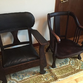 Old wood low chairs - Mystery - any info appreciated
