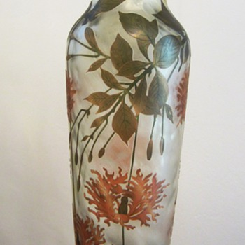 """Cristallerie de Pantin"" French Cameo Art Nouveau Vase - Art Glass"