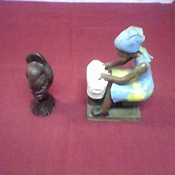 AFRICAN LADY BUST AND FIGURINE - Folk Art