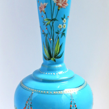 Harrach Enameled Ball-Footed Opaline Vase - Art Glass
