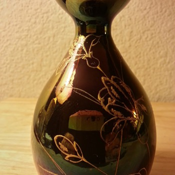 Iridescent Hand Blown Vase With Hand Pained Gold Design  - Art Glass