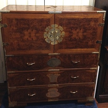 Burl wood Chinese cabinet