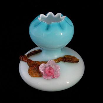 Cased Czech or Bohemian Art Glass Gourd Style Applied Glass Vase - Art Glass