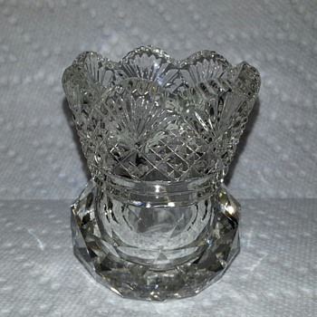 American Brilliant Cut Glass Toothpick Holder, Fan & Diamond Pattern. - Glassware