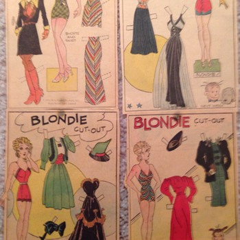 1933 original newspaper paper dolls. Blondie, Sisters and Tillie the Toiler - Dolls