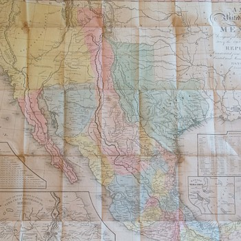 Tanner Pocket Map of Mexico 1847 fourth ed.
