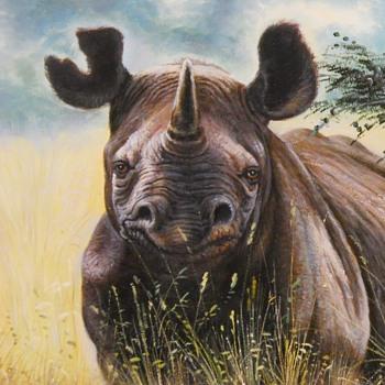 "Oil Painting""Couple of Rhino in The Savanna""Jone, Circa 20 Century - Visual Art"
