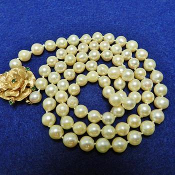 14k Gold  Emeral & Pearl Necklace Garage Sale Score - Fine Jewelry