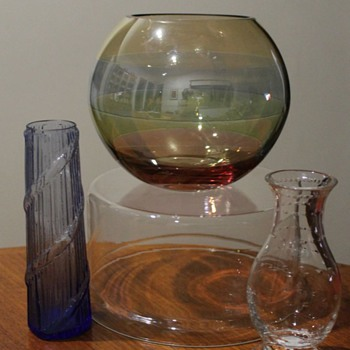 Trio of Hungarian Vases - Art Glass