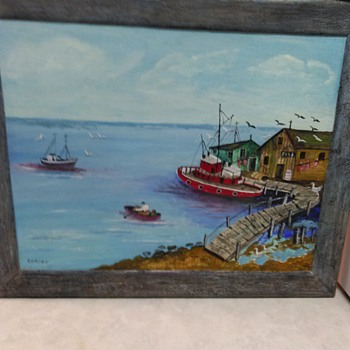BOAT OIL PAINTING - Visual Art