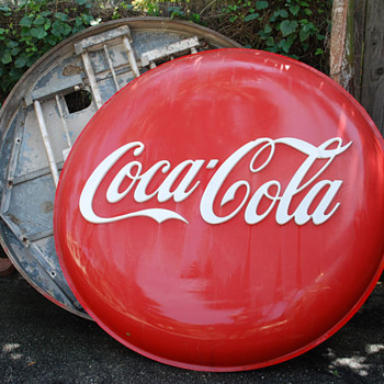 pre 50's large plastic lighted button signs - Coca-Cola