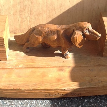 Vintage Black Forest inkwell with Dachshund