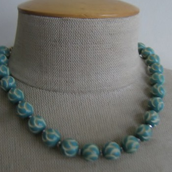 Aqua carved celluloid beads from 1930's