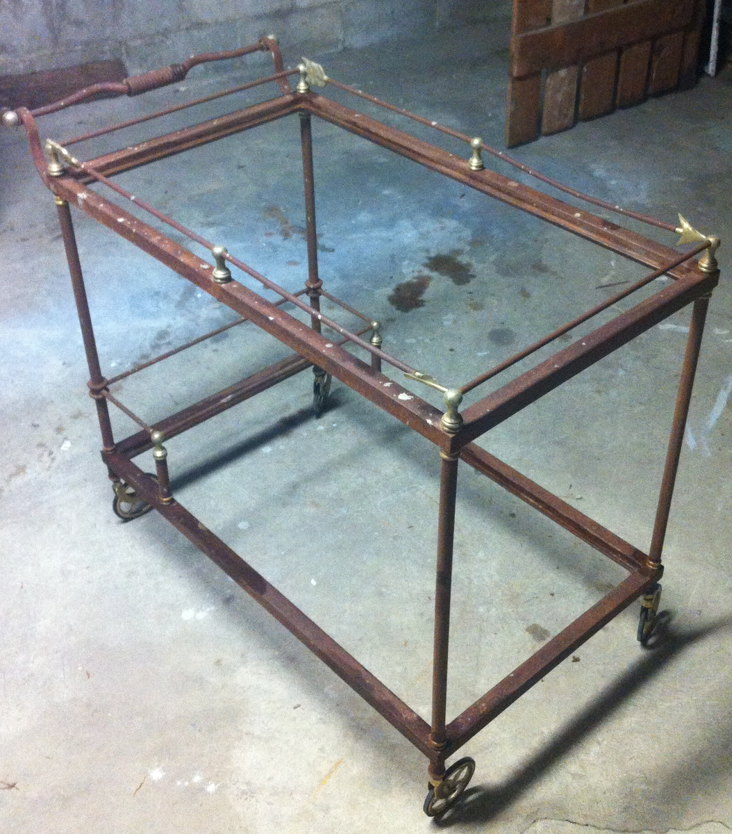 steel and brass bar cart collectors weekly. Black Bedroom Furniture Sets. Home Design Ideas
