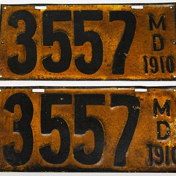 1910 Maryland License Plates, First Issue, Pair