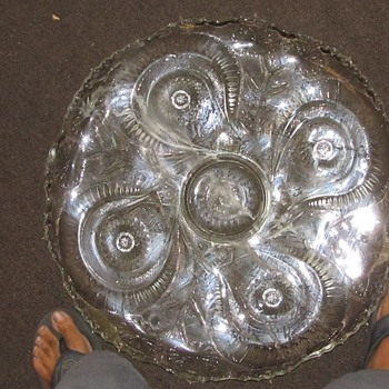 Large glass service plate 22""