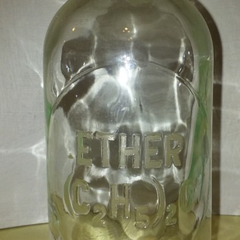 old glass ETHER laboratory bottle
