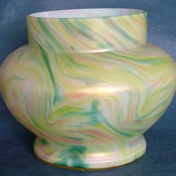 1930s Czechoslovakian Pastel Swirled Glass Vase