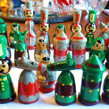 Matryoshka Russians! chess set, wood hand painted!
