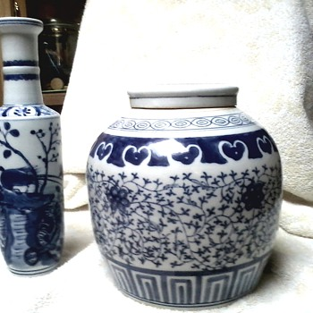 Chinese Porcelain Ginger Jar with Lid and Tall Rouleau Vase / Real or Real Reproductions ??