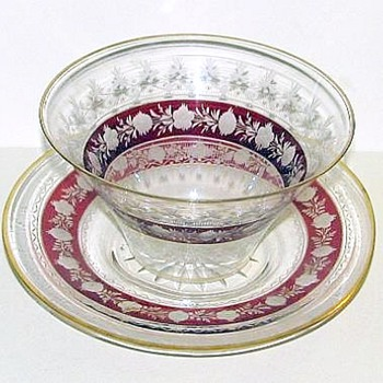 Ruby Stained Bowl & Underplate
