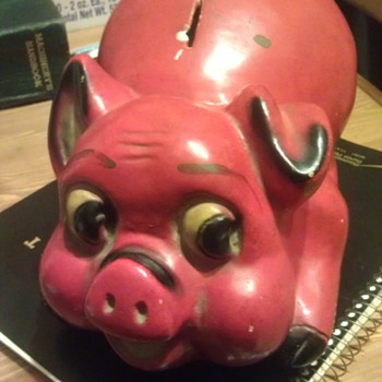 Vintage Chalkware Piggy Bank - Coin Operated