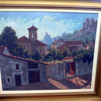 Beautiful old signed oil Village scene 'Mystery artist'? - Visual Art