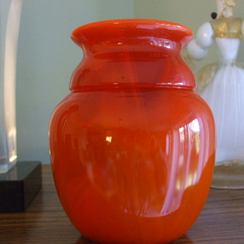 Tangerine-Orange DAVIDSON GLASS-Cloud Glass VASE -1933-1935