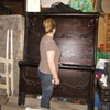 Grannies hidden tresure! Wooden bed, wash stand w/mirror and dresser w/mirror all pieces were bought from 1890-1919