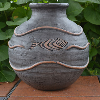 Vase Decorated with Three  Incised  Fish and raised water decoration. - Pottery