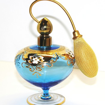 Blown Glass Perfume Atomizer Hand Painted-Made in Italy - Bottles