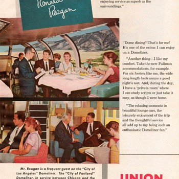 1959 - Union Pacific Railroad Ad - Ronald Reagan - Advertising