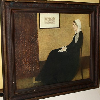 Framed Print of Whistler&#039;s Mother from the 1920s and an etching by Rudolf Dogge