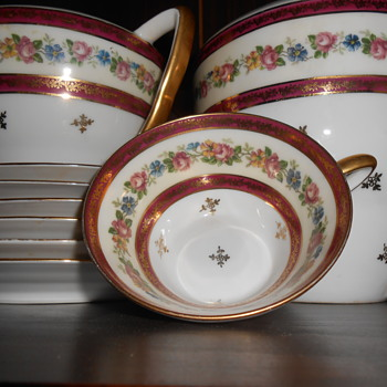 This tea set is so fine if you hold the cups to the light you can kind of see through it , it is exquisitely painted .